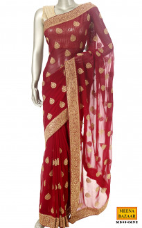 Embroidered Wine Saree