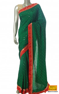 Green Silk Mirror Work Saree