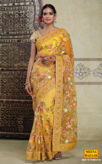 Embroidered Mustard Net Saree