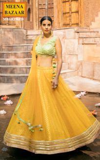 Marigold lehenga with Olive Green Choli