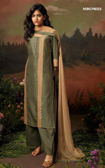 Olive Green Silk Suit Set with Embroidery Work