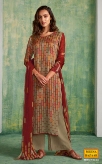 Red Printed Silk Suit Set with Handwork
