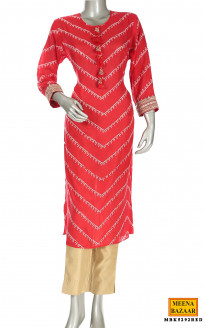 Red cotton silk kurti