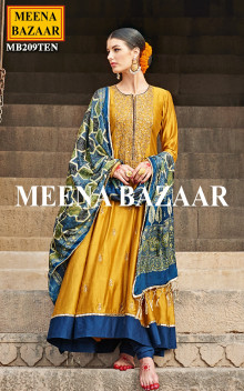 Yellow And Blue Salwar Suit